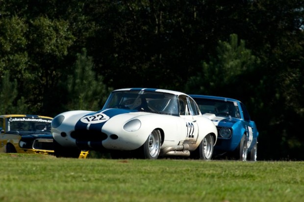 Howard Turner's Jaguar E-Type is hotly pursued by the Chevrolet Camaro of SVRA Driver of the Year Ed Jensen