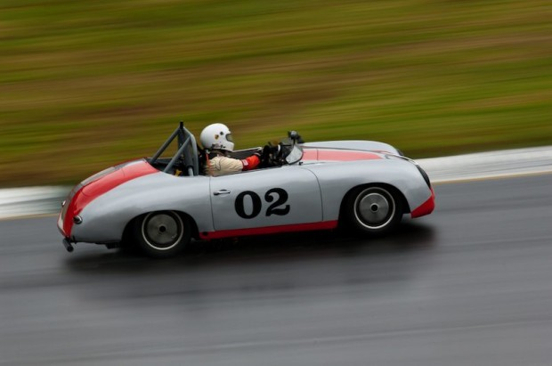 Dale Erwin manages the wet track with his 1958 Porsche 356 onto a 3rd place finish in class