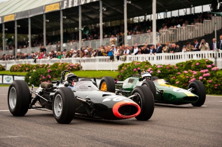 Sir Jackie Stewart's BRM P261 leads Dario Franchitti's Lotus 25, Goodwood lap record demonstration (photo: Matt Jacques)