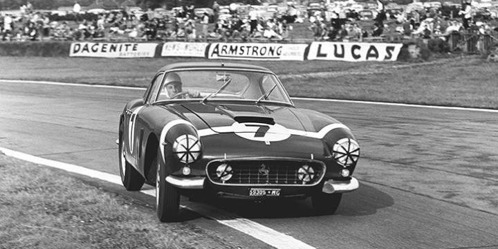 Stirling Moss in the Ferrari 250 GT SWB Berlinetta at Goodwood