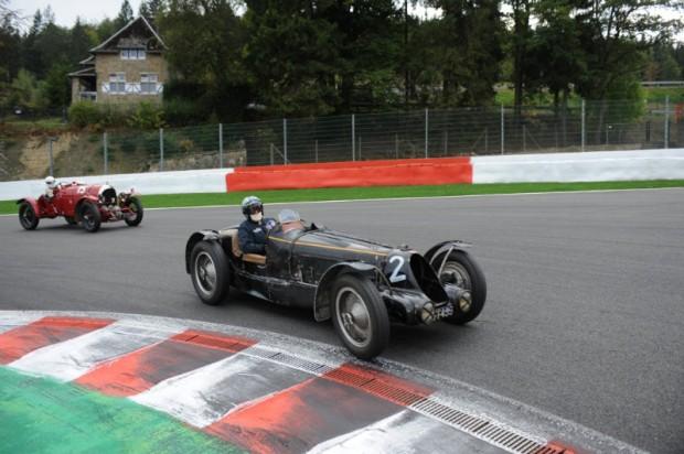 Bugatti T59 of Hubert Fabri leads Blower Bentley of Hope/Singer