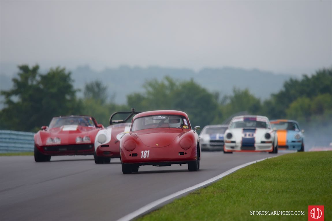 1959 Porshe 356A of Stephen Hunter and a pack of Enduro cars