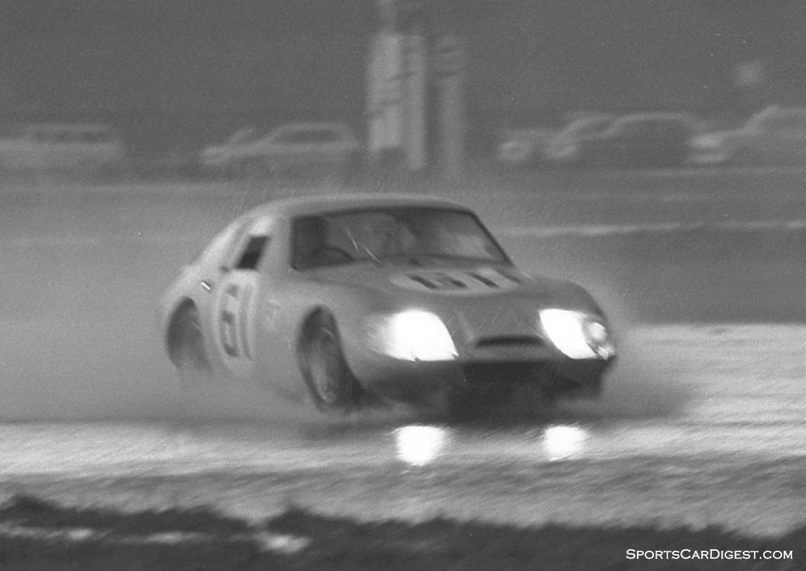 Small cars with narrow tires did much better in the storm sometimes passing the bigger cars three and four times. This Austin-Healey Sebring Sprite of Clive Baker and Rauno Aaltonen finished an amazing 15th overall due to the rain and their better traction. (photo: Dave Nicholas)