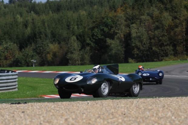 Ben Eastwick - Jaguar D-Type leads the winning Maserati 250SI of Marc Devis