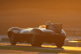 The sun sets on Stefan Ziegler and his Jaguar D-Type
