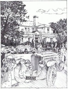 An early sketch of the 2009 Pebble Beach Concours Poster, painted by artist Barry Rowe
