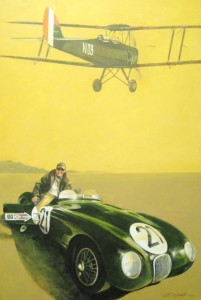 """Salute to a C-Jaguar,"" a 24"" x 36"" acrylic on canvas painting, features a 1955 C type Jaguar underneath a soaring de Havilland Tiger Moth airplane."