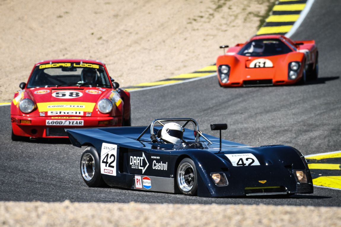 A 1971 Chevron B19 being chased in the Classic Endurance class
