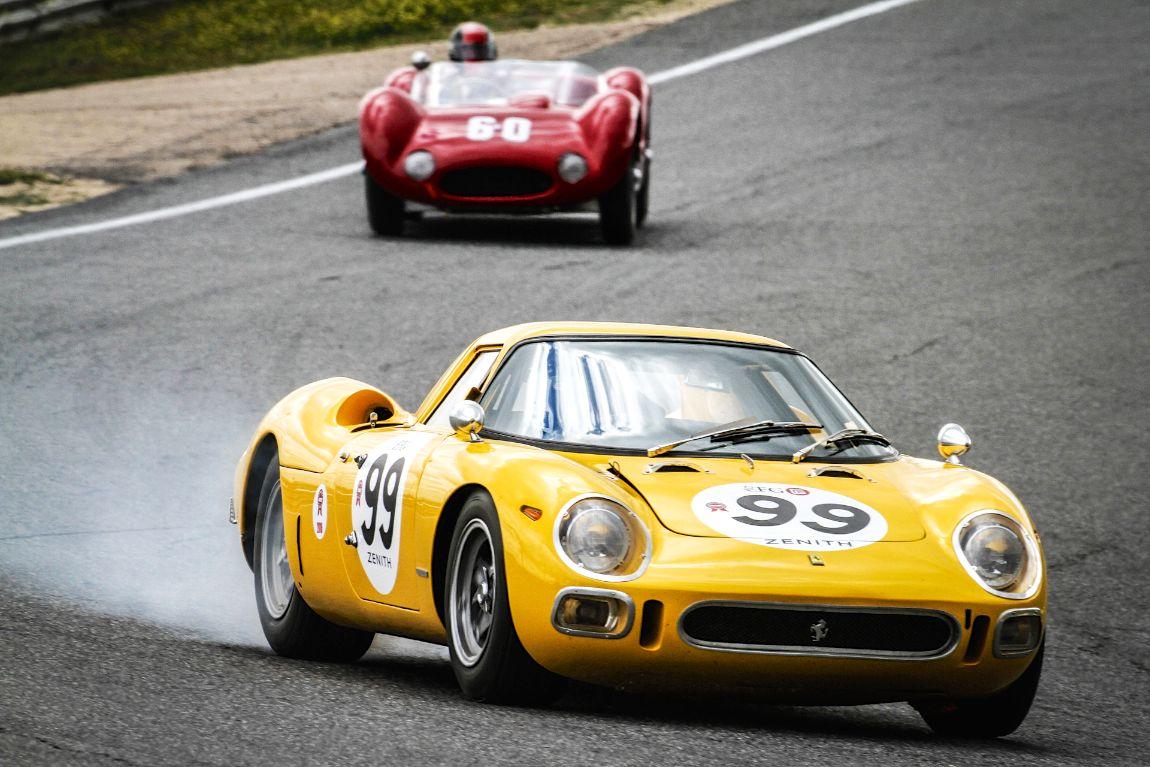 The Maserati Birdcage trails the Ferrari 250 LM