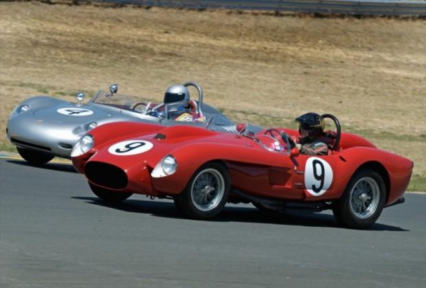 David Love's Ferrari TR 250 passes the 1960 Porsche RS60 of Bill H. Lyon