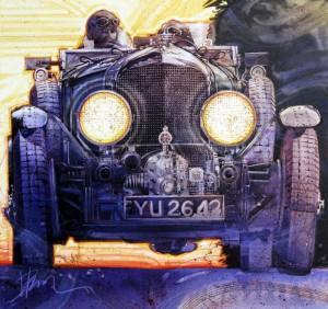 """""""Early Morning Run"""" depicts a 1928 4.5-liter supercharged Bentley in acrylic on board.  The 26"""" x 27"""" painting details the front fascia of the Bentley as it races along a road in the early morning."""