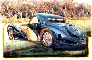 """""""Sitting Pretty"""" is a 10.5"""" x 13.5"""" acrylic painting that showcases a 1937/Eng 8-cylinder Bugatti Type 57S"""
