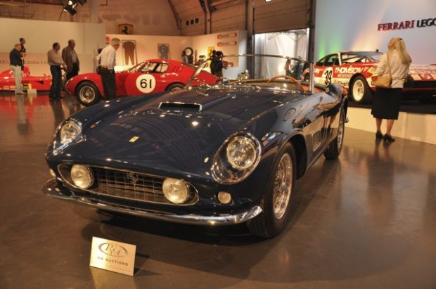 1959 Ferrari 250 GT LWB California Spyder – Estimate $2,800,000 – $3,400,000; Chassis # 1487 GT, an original covered-headlight example, enjoyed an active racing career, driven by Pierre Mion at Cumberland, Bridgehampton, Lime Rock and finishing 2nd overall at the 1960 six-hour race at Marlboro. The car was subsequently sold by Luigi Chinetti to the Rodriguez family in Mexico; Pedro drove 1487 GT to a class victory at the 1961 Gran Premio Indipendenza in Mexico.