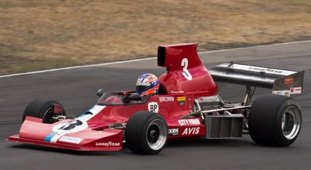 New Zealand racing driver Craig Baird trying David Abbott's MSC  F5000 Tasman Cup Revival Series Lola T430