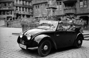 Ferry Porsche at the wheel of the Volkswagen prototype (V2) in Tübingen, 1936