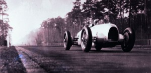 First appearance of the Auto Union Silver Arrow on the Avus racetrack in Berlin, 1934 - Hans Stuck at the wheel of the Auto Union Type A Race Car