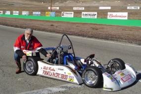 Bill Huth next to the Yamaha R1 powered Formula Pacific race car