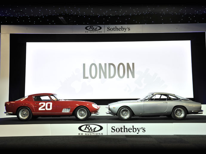 Top-sellers at RM Sotheby's 2015 London sale (L-R): 1958 Ferrari 250 GT Berlinetta Competizione 'Tour de France' and 1964 Ferrari 250 GT/L Berlinetta 'Lusso' (credit – Tim Scott © 2015 courtesy RM Sotheby's)