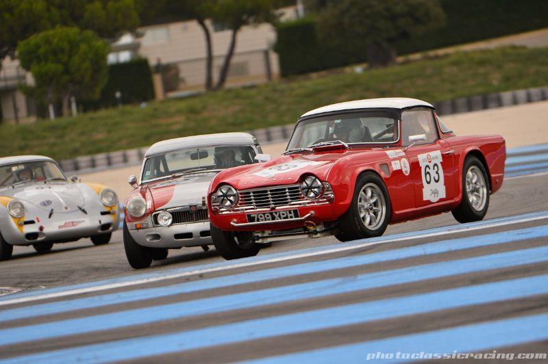 Triumph TR4 leads MG B and Porsche 356