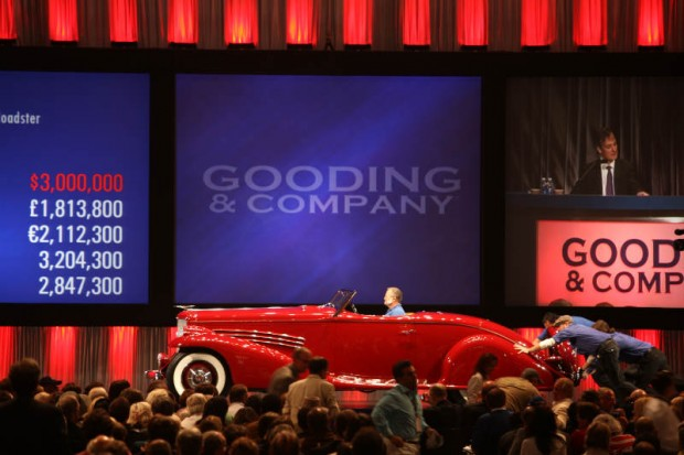 <strong>1935 Duesenberg SJ Roadster – Sold for $3,300,000 versus unavailable estimate.</strong> One-off body by Bohman & Schwartz; ex-Prince Serge M'Divani and Jerry Gebby.