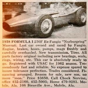 Ex-Fangio Maserati 250F