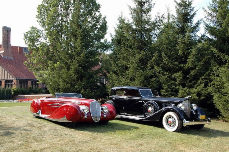 Best of Show Winners at Meadow Brook Concours d'Elegance: 1939 Delahaye 165 Cabriolet by Figoni et Falaschi and 1934 Packard V-12 Sport Sedan by Dietrich