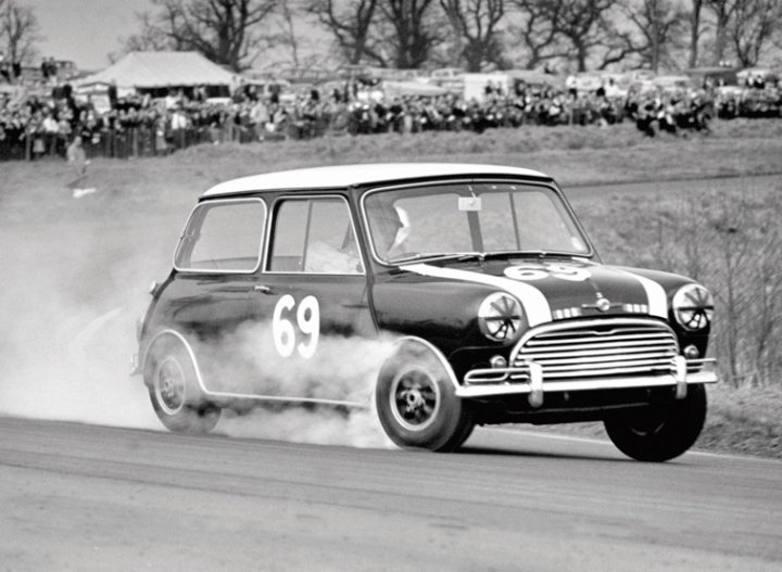 Mini Cooper racing at Oulton Park in 1965