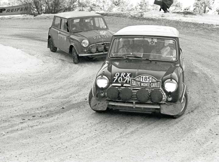Mini Cooper S driven by Fall and Wood finish 4th at 1968 Rallye Monte Carlo