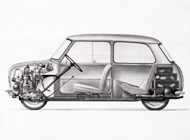 Morris Mini-Minor longitudional section, 1959