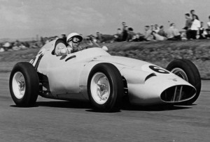 Stirling Moss in a BRM P25, 1959. At the British Grand Prix at Silverstone, he finished a fighting second after having to pit once for new tyres and a second time for fuel. (Reproduced from the Stirling Moss Scrapbook, 1956-1960, which is being launched by Sir Stirling at the Silverstone Classic)
