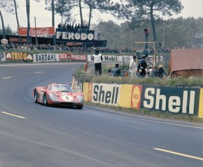 Shelby American Ford Mark IV of Dan Gurney and AJ Foyt races to a record setting win.