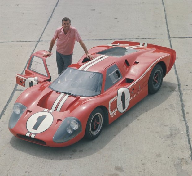 Carroll Shelby with the 1967 Le Mans winning Ford GT40 Mark IV.