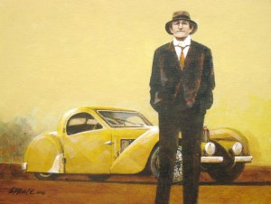 """""""Earl and His Yellow Bugatti,"""" is a 12''x 19'' acrylic on canvas that is the second to feature a fictitious man alongside a French masterpiece."""