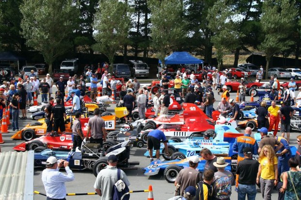 F5000 cars in parc ferme after the first race
