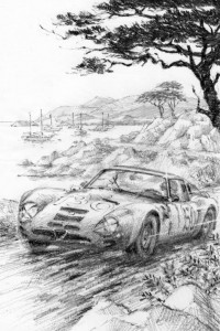 Peter Hearsey's sketch of the 2009 Pebble Beach Tour d'Elegance poster