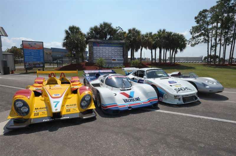 Porsche Sebring Group Shot Features 718 RS 60, RS Spyder, 935 and 962 models