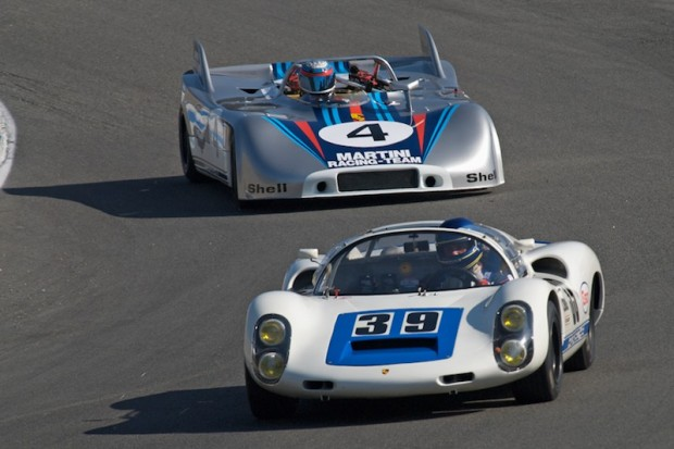 Howard Cherry 1966 Porsche 910 leads Phil Daigrepont's 1970 Porsche 908/3