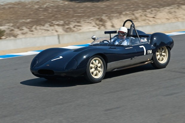 """Sir Stirling Moss - 1960 Lola Mk I.  """"It is a car I never raced before I retired,"""" he said. """"I actually drove it afterward, but I can tell you that it is much faster now than it ever was when it was new. I'm really only using third and fourth gear; it really accelerates well out of the slow corners."""""""