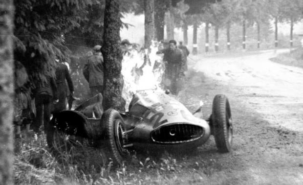 Belgian Grand Prix, June 25, 1939. A tragic accident at the Spa-Francorchamps circuit during the Belgian Grand Prix put an end to the career of the popular British driver Richard Beattie Seaman. He had a 28 second lead going into lap 22, when he lost control on the rain-soaked track coming out of La Source and skidded sideways into the trees. The fuel tank punctured and the car caught fire. Richard Seaman died from his injuries the following day.