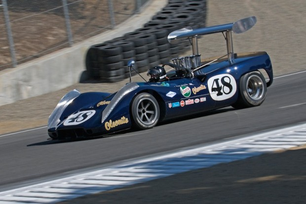 Andy Boone on his cool down lap in the corkscrew. 1968 McLeagle M6B 7538cc.