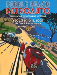 The completed 2009 Pebble Beach RetroAuto Poster by artist Tim Layzell