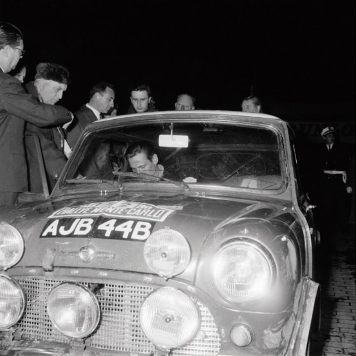 Timo Makinen and Paul Easter in the Mini Cooper S at the 1965 Rallye Monte Carlo