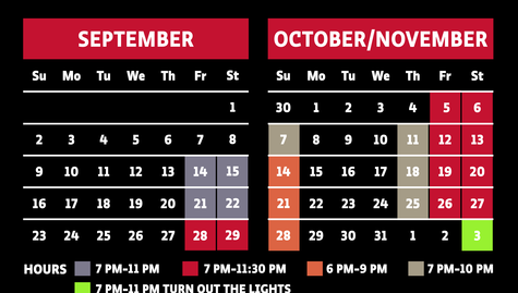 ScareHouse Calendar and Hours