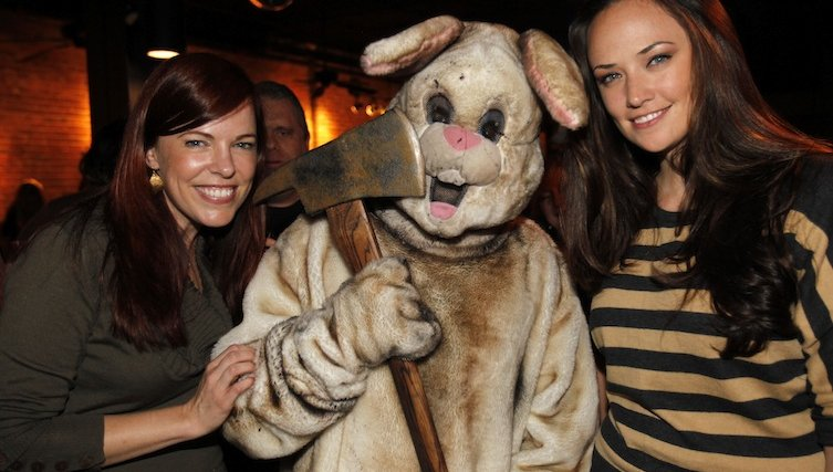 Freaky angry looking bunny with Amy Bruni and Kris Williams from Ghost Hunters