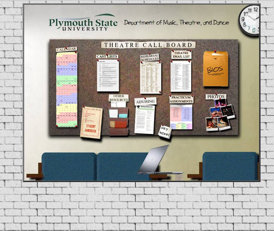 This is what the online callboard for our program looks like .  Everything you see is clickable, and (if you are a major), takes you someplace useful.   I made this from scratch, intentionally imitating the real callboard in our student lounge area.