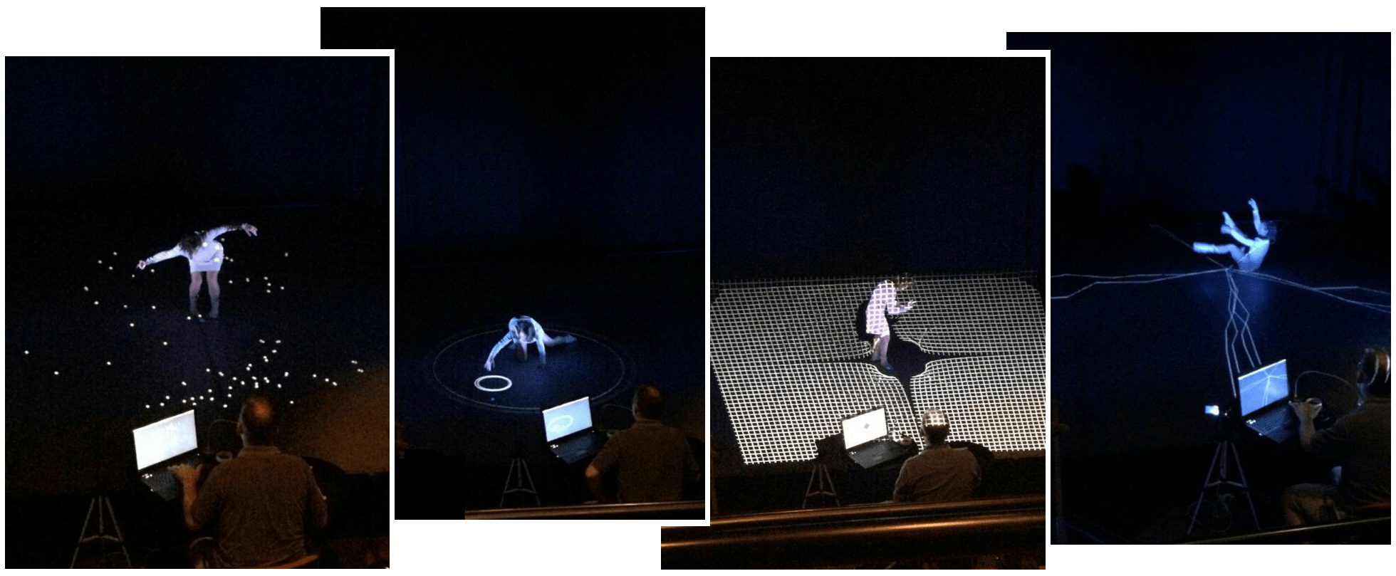 Four photos of dance projection media