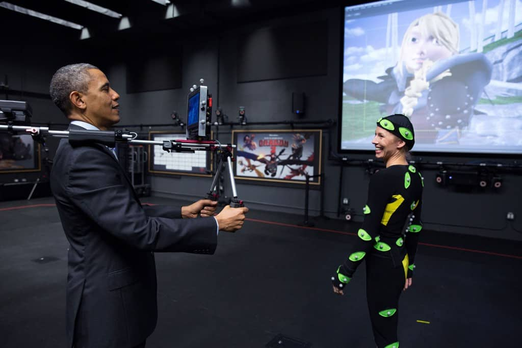 President Barack Obama views a motion capture demonstration during a tour of the Glendale campus of movie studio DreamWorks Animation SKG in Glendale, Calif., Nov. 26, 2013. (Official White House Photo by Pete Souza) This official White House photograph is being made available only for publication by news organizations and/or for personal use printing by the subject(s) of the photograph. The photograph may not be manipulated in any way and may not be used in commercial or political materials, advertisements, emails, products, promotions that in any way suggests approval or endorsement of the President, the First Family, or the White House.