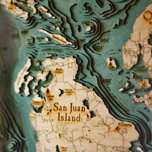 Cache Money - Below the Boat: Underwater Topo Maps Made of Wood