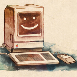 Cache Money - Dribbble - Mac Classic Watercolor by Kevin Burg