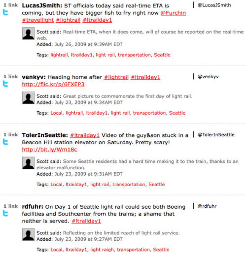 Twitter links on P2 example